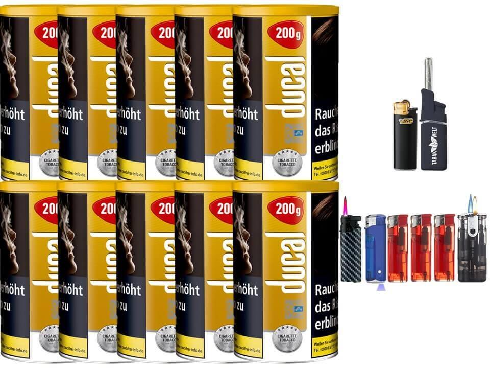 Ducal Gold 10 x 200g Feinschnitt / Zigarettentabak Feuerzeug Set