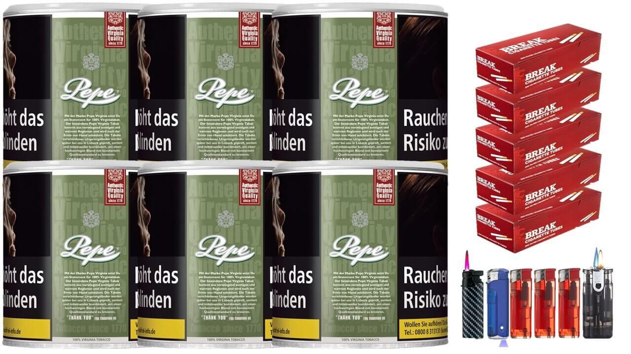 Pepe Rich Green 6 x 80g Feinschnitt / Zigarettentabak 1000 Filterhülsen Uvm.