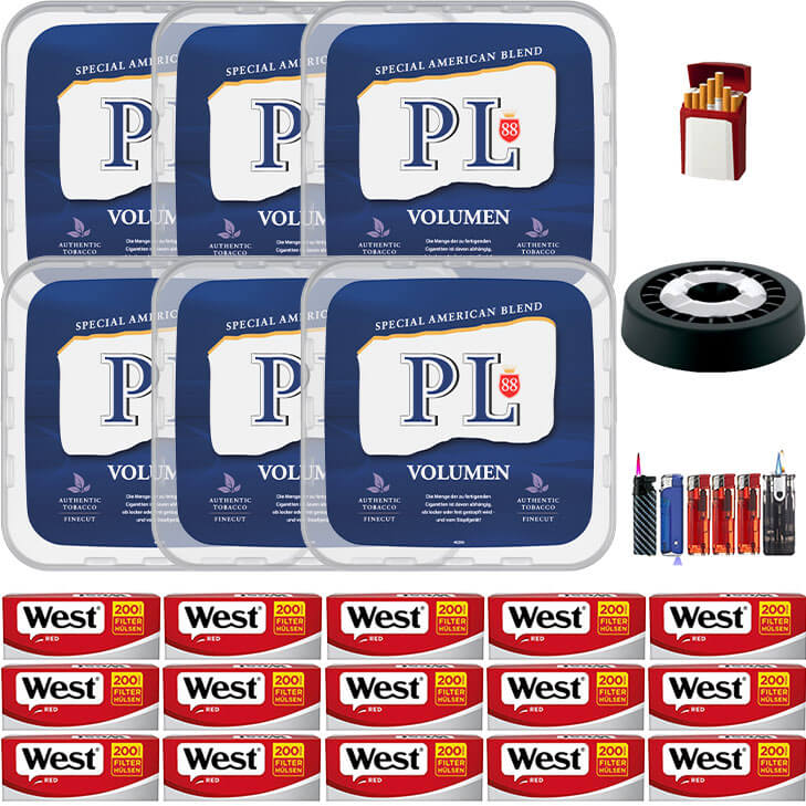 PL88 Blue / Blau 6 x 400g Volumentabak 3000 Red Filterhülsen Uvm