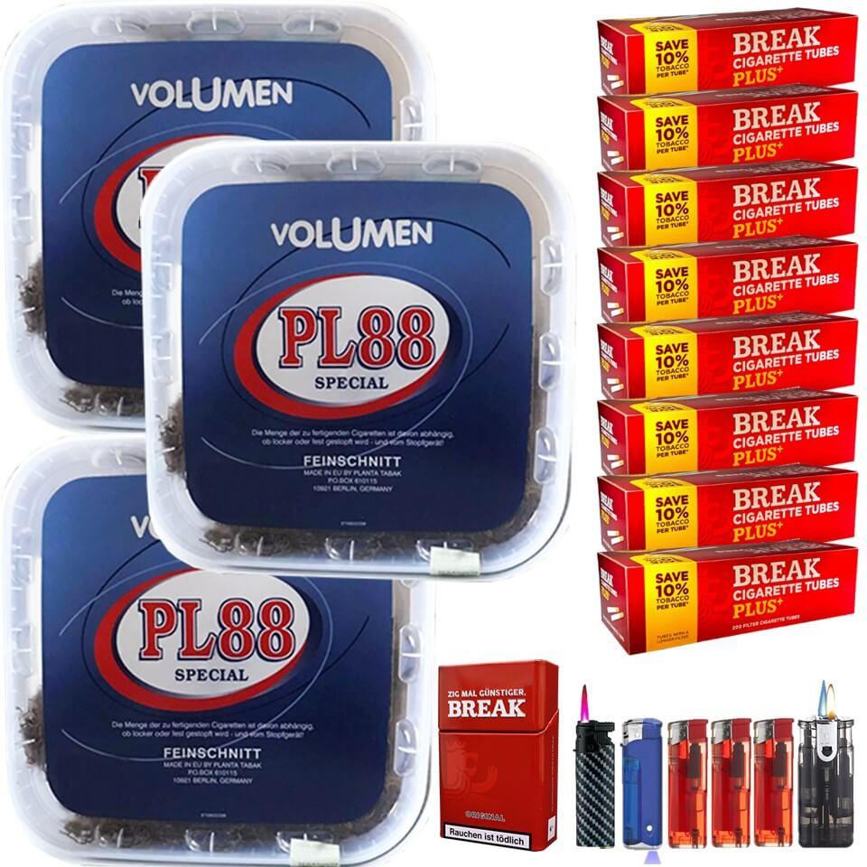 PL88 Blau 3 x 400g Volumentabak 1600 Plus Hülsen