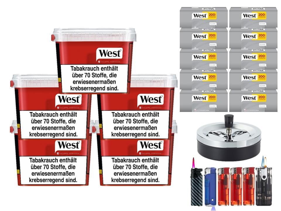West Red 5 x 170g Volumentabak 2000 West Silver Filterhülsen Uvm.
