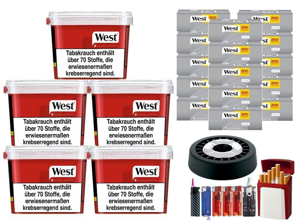 West Red 5 x 280g Volumentabak 3000 West Silver Filterhülsen Uvm.
