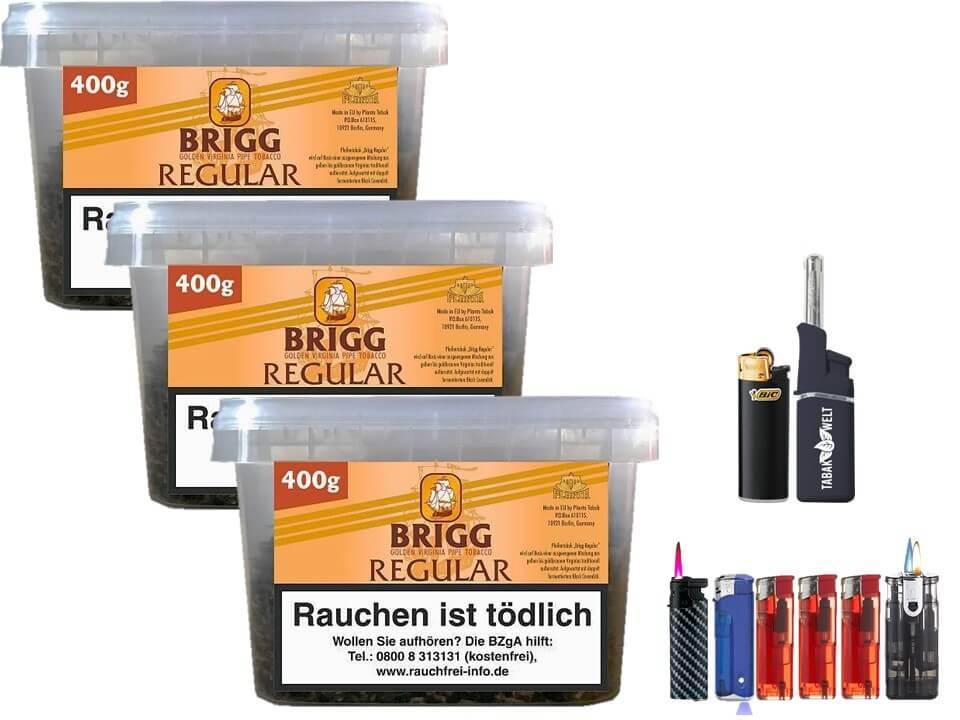 Brigg Regular 3 x 400g Pfeifentabak Feuerzeug set