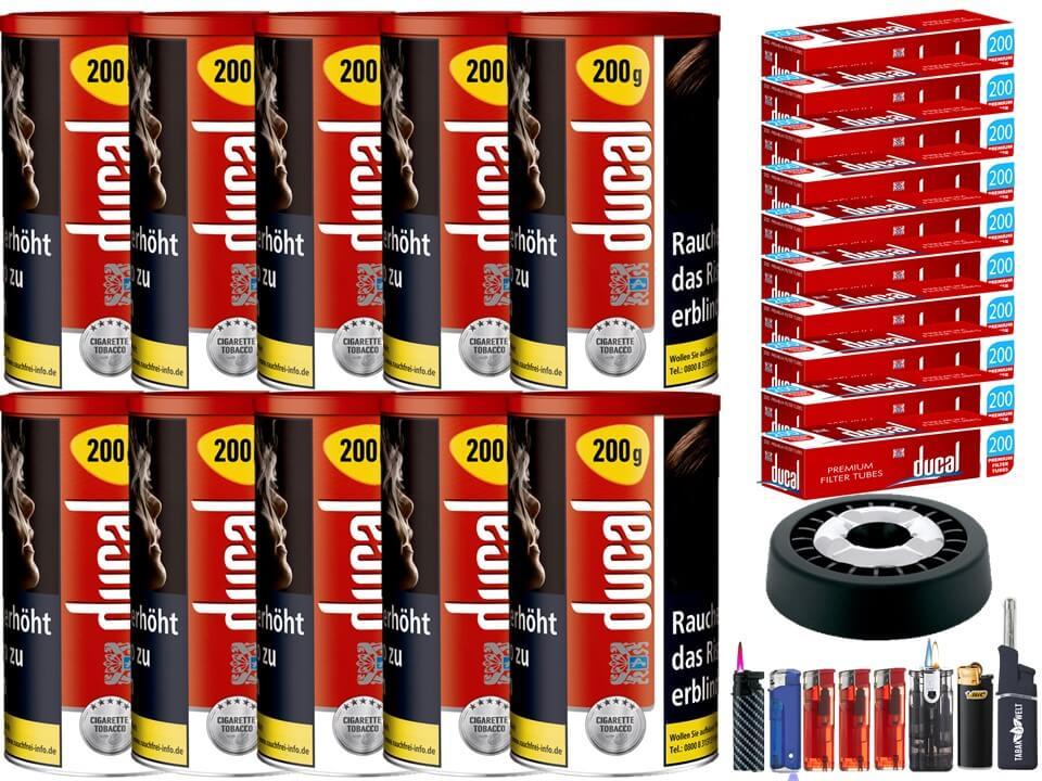 Ducal Red / Rot 10 x 200g Feinschnitt / Zigarettentabak 2000 Filterhülsen Uvm.
