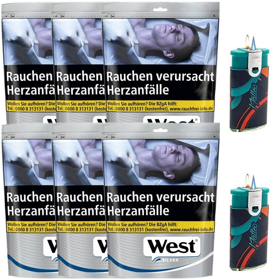 West Silver 6 x 105g Volumentabak 2 x Duo Feuerzeug mit-2-Flammen