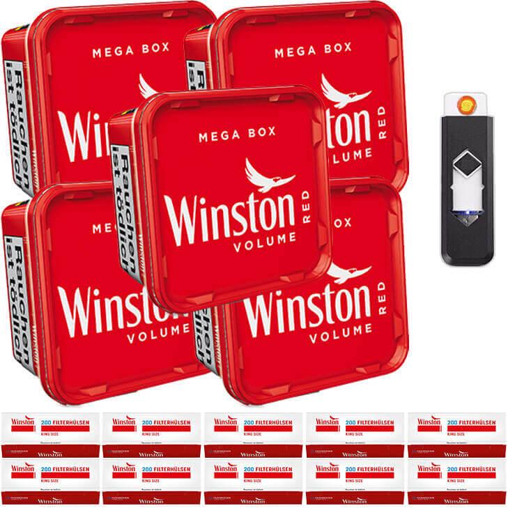 Winston Mega Box 5 x 170g Volumentabak 2000 King Size Filterhülsen Feuerzeug