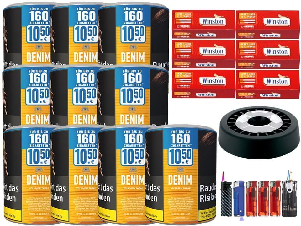 Denim XL 10 x 65g Volumentabak 1500 Extra Size Filterhülsen