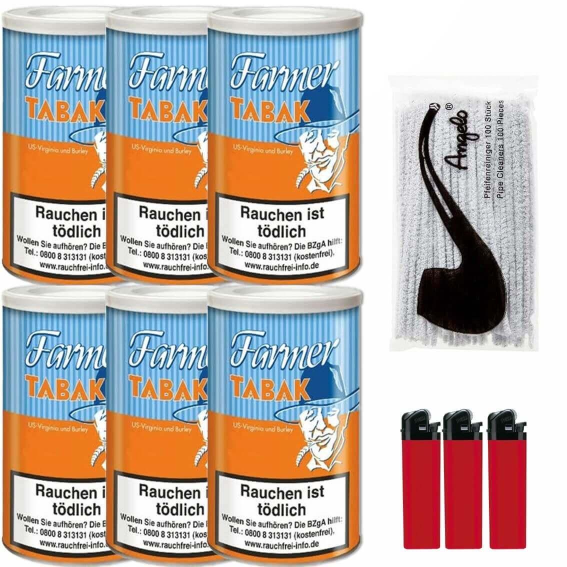 Farmer 6 x 170g Pfeifentabak Feuerzeuge Pfeifenreiniger