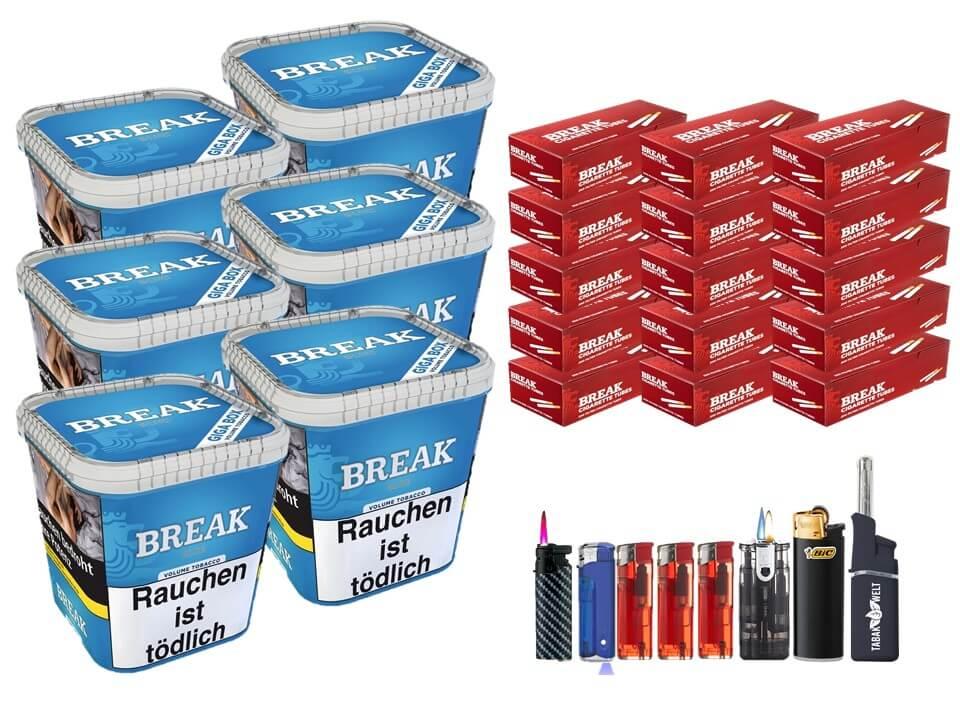 Break Blue / Blau 6 x 240g Volumentabak 3000 Break Filterhülsen Uvm.