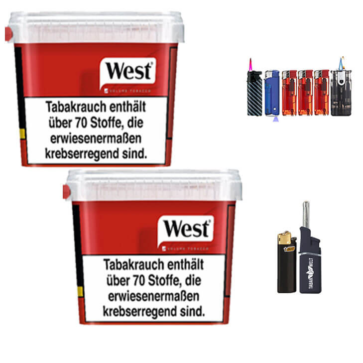 West Red 2 x 300g Volumentabak Feuerzeug Set