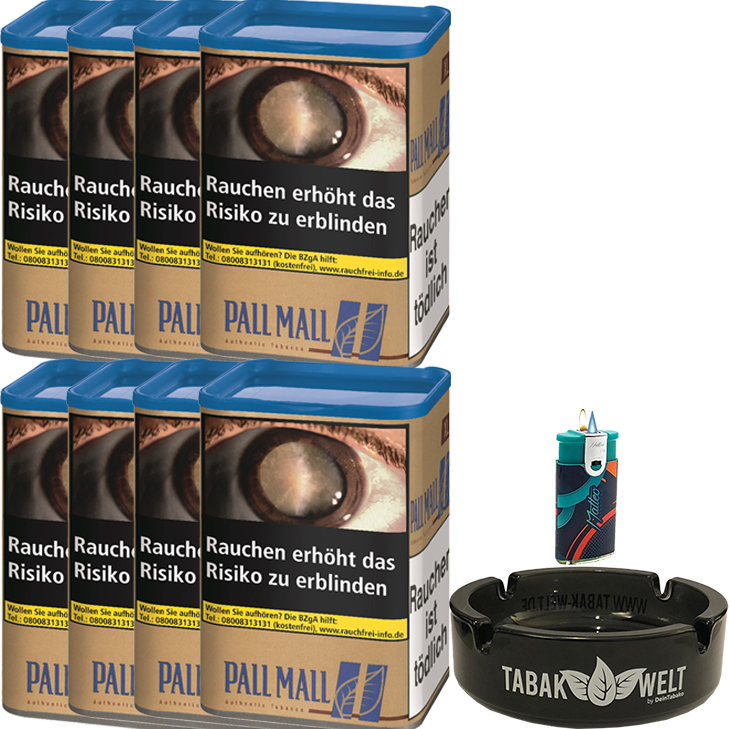Pall Mall Authentic Blue 8 x 60g mit Glasaschenbecher