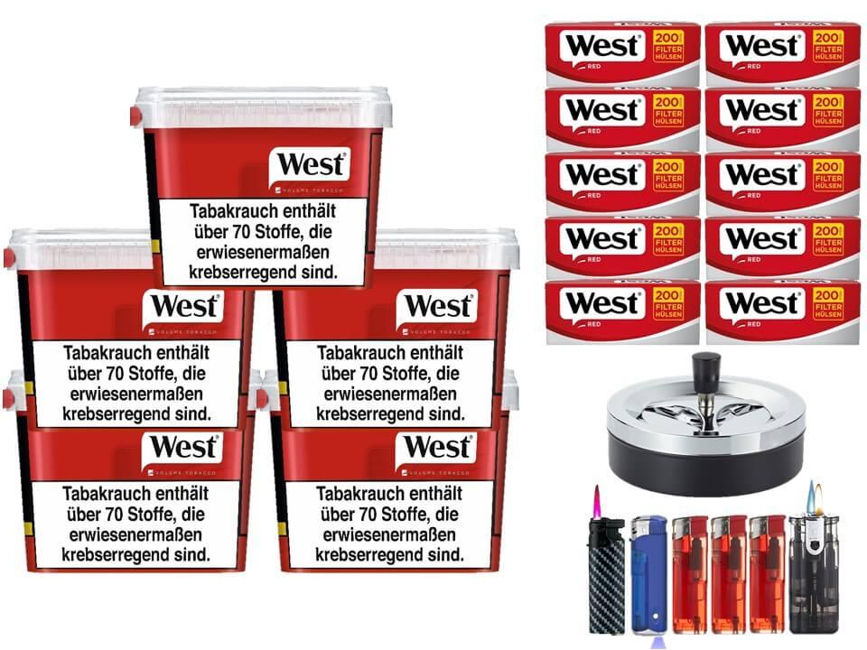 West Red 5 x 170g Volumentabak 2000 West Red Filterhülsen Uvm.