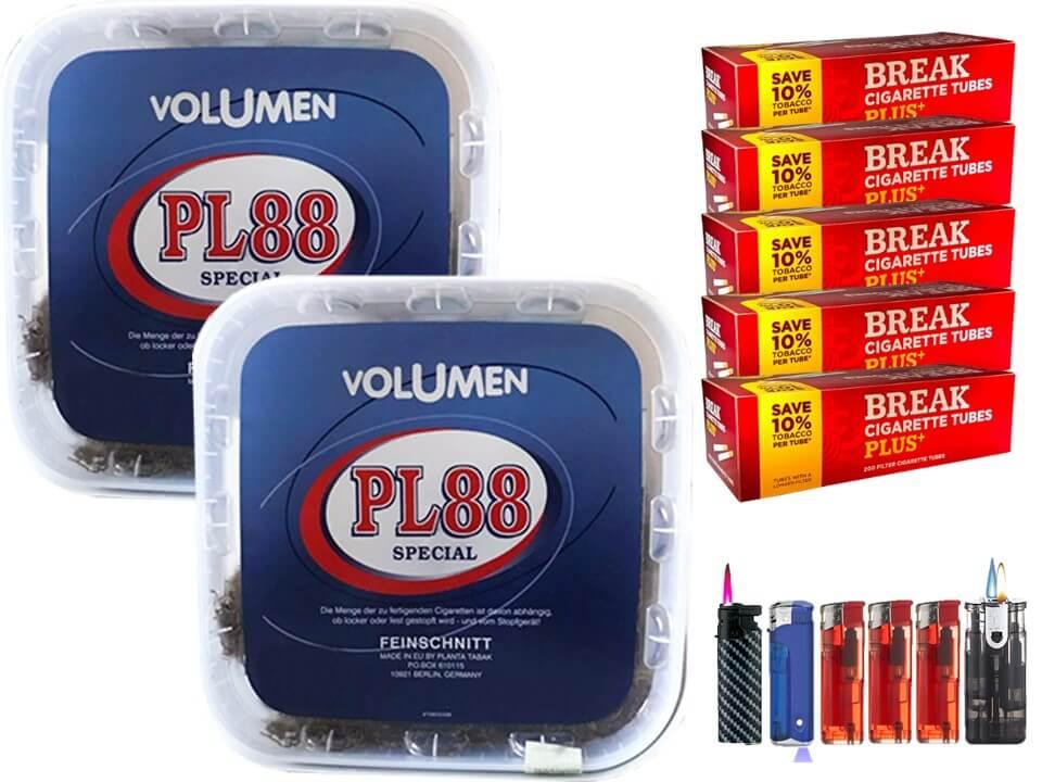 PL88 Blau 2 x 400g Volumentabak 1000 Filterhülsen Uvm.
