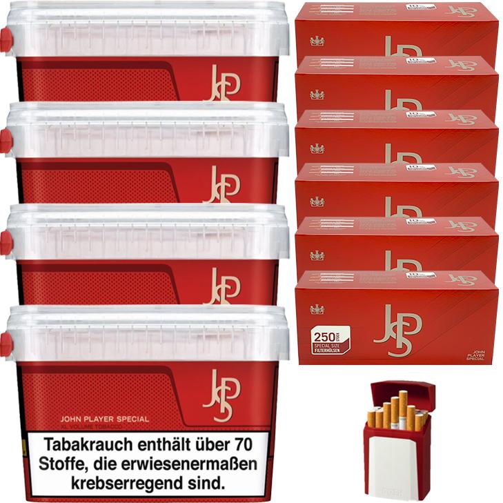 JPS John Player Mega Box 4 x 160g Volumentabak 1500 Special Size Filterhülsen Uvm.