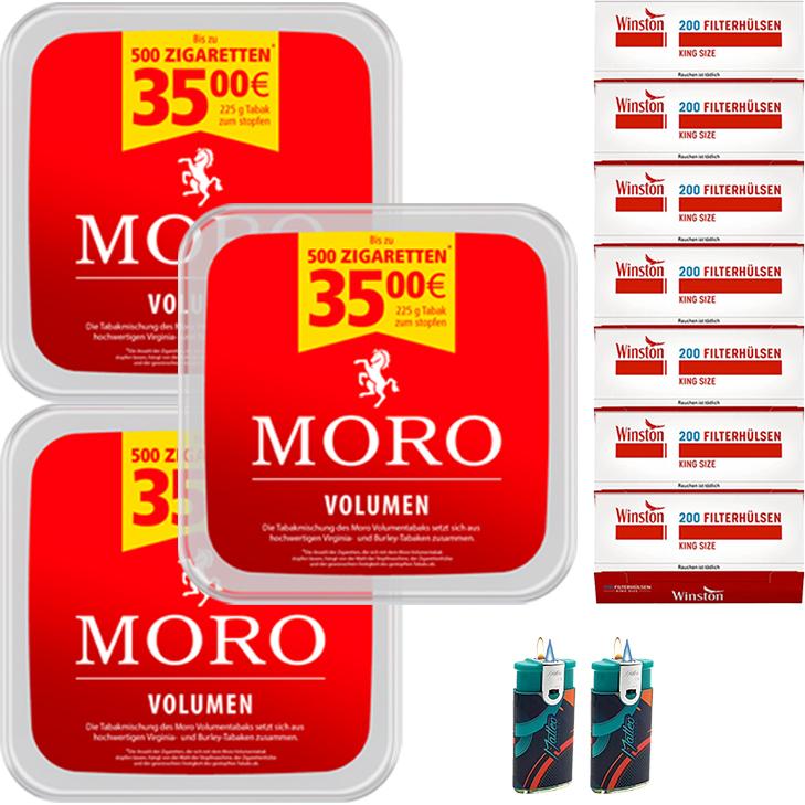 Moro Volumen 3 x 225g mit 1400 King Size Hülsen