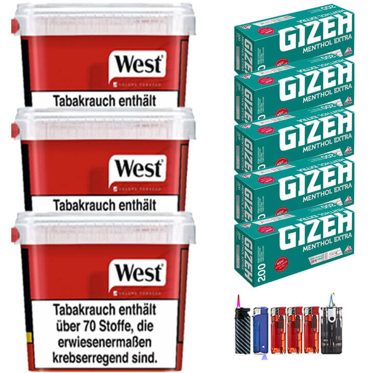 West Red 3 x 280g mit 1000 Menthol Extra Size Hülsen