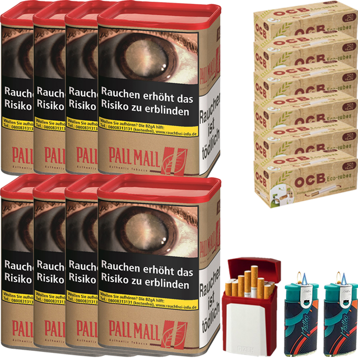 Pall Mall Authentic Red XL 8 x 60g mit 1500 Hülsen