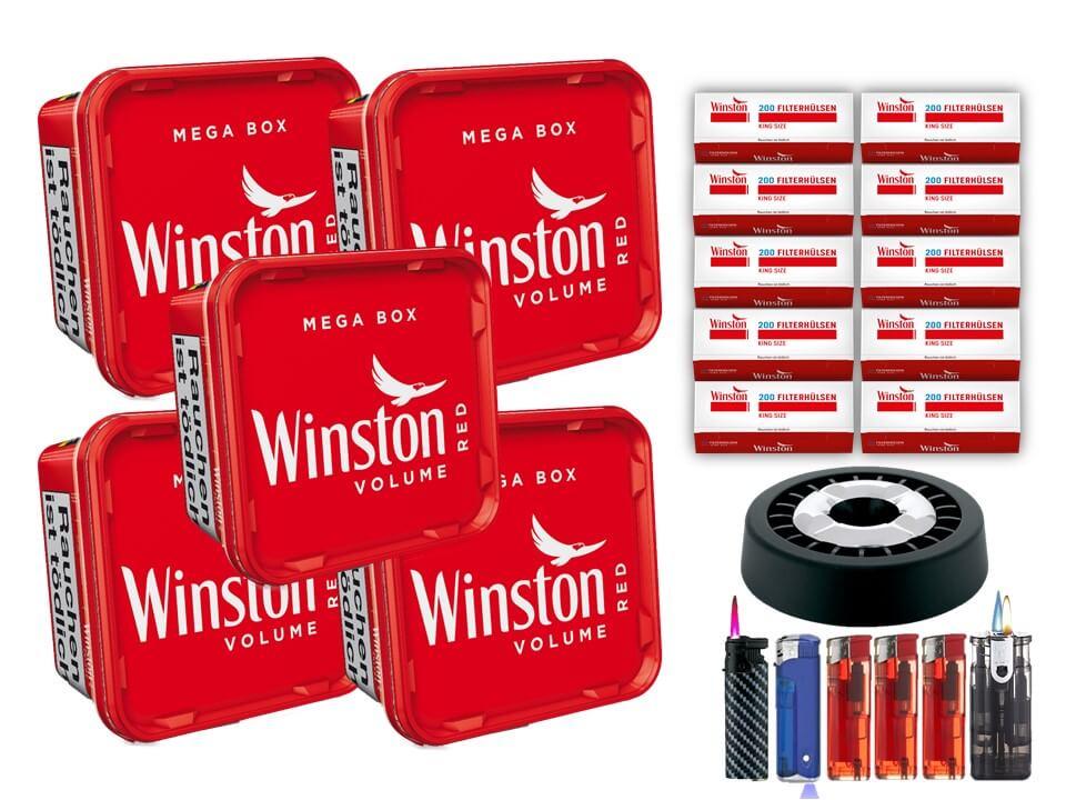 Winston Mega Box 5 x 170g Volumentabak 2000 Winston Filterhülsen Uvm.