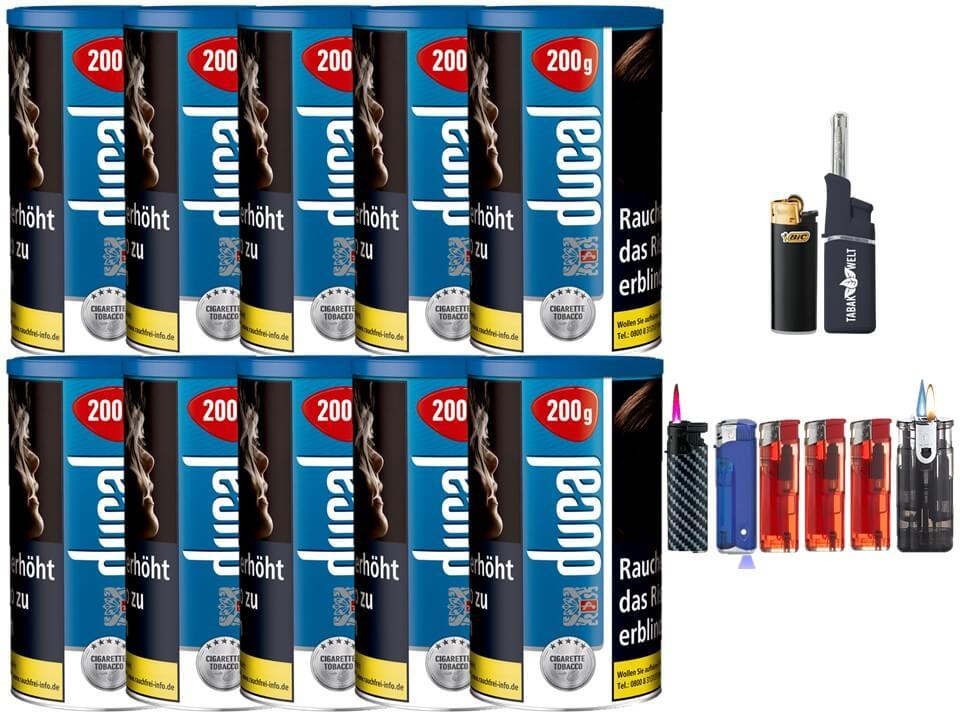 Ducal Blue / Blau 10 x 200g Feinschnitt / Zigarettentabak Feuerzeug Set
