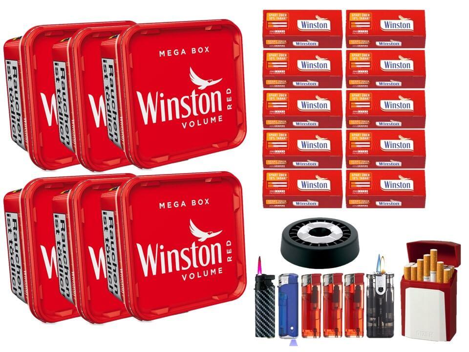 Winston Mega Box 6 x 170g Volumentabak 2500 Winston Extra Size Filterhülsen Uvm.