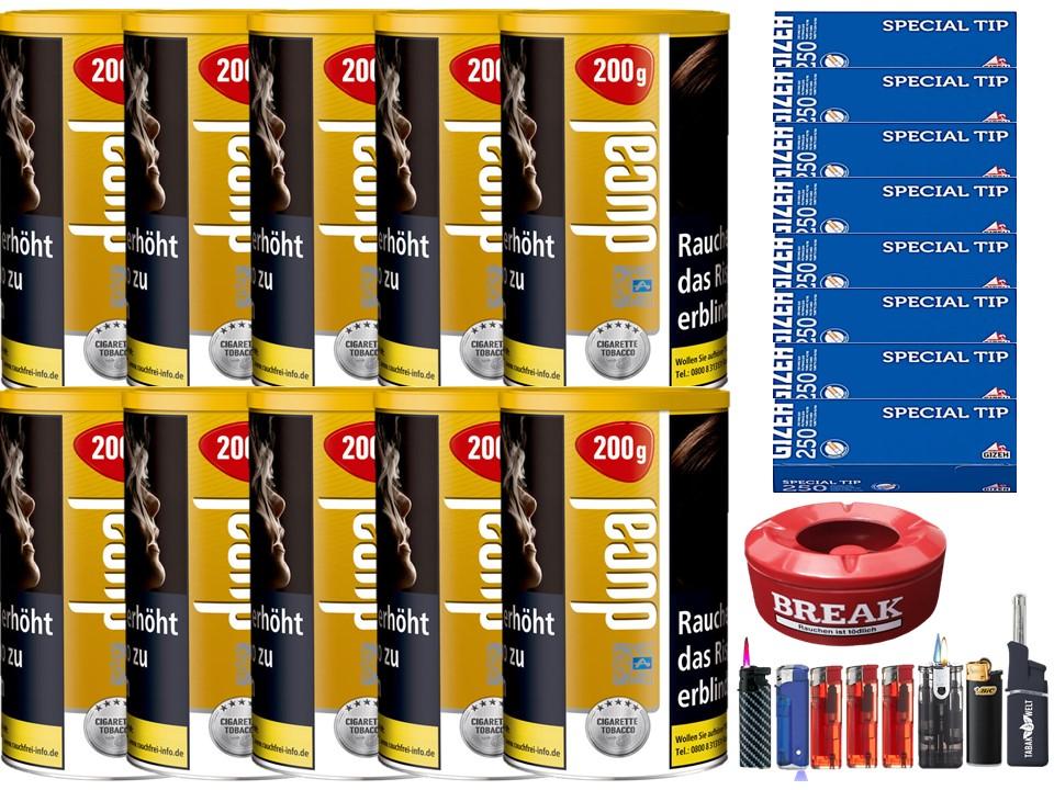 Ducal Gold 10 x 200g Feinschnitt / Zigarettentabak 1000 Filterhülsen Uvm.