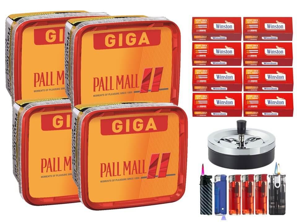 Pall Mall Giga Box 4 x 280g Volumentabak 2000 Extra Size Filterhülsen Uvm.