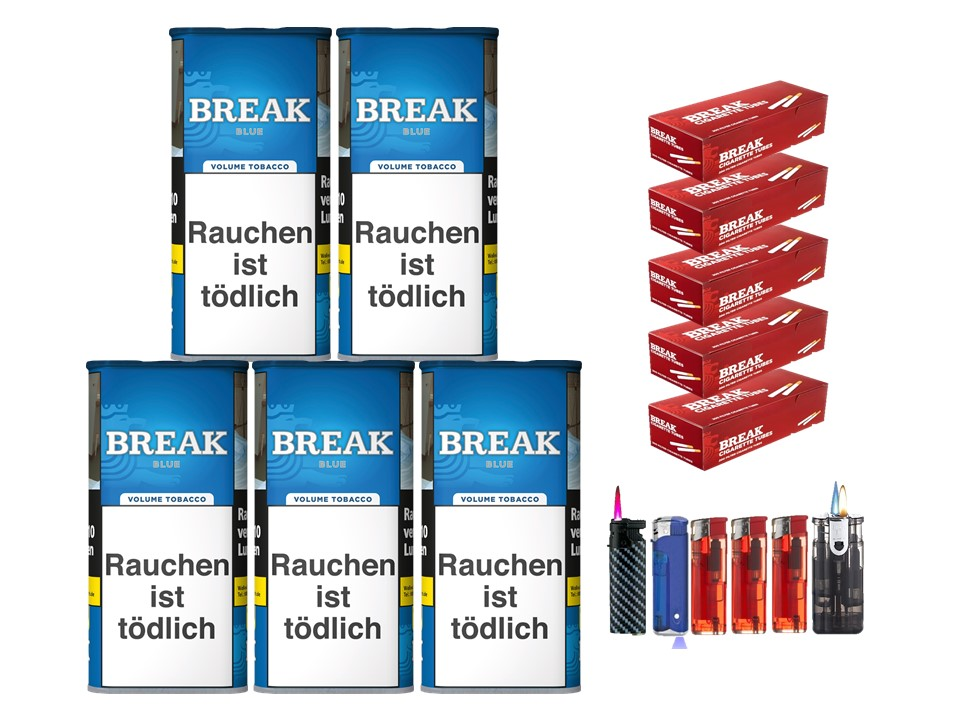 Break Blue / Blau 5 x 120g Volumentabak 1000 Break Filterhülsen Uvm.