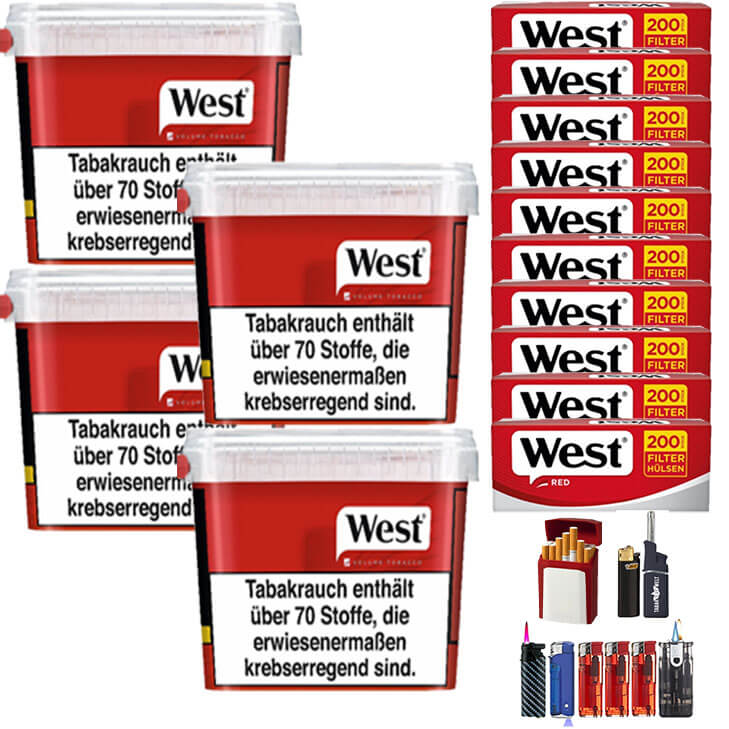 West Red 4 x 300g Volumentabak 2000 West Red Filterhülsen Uvm.