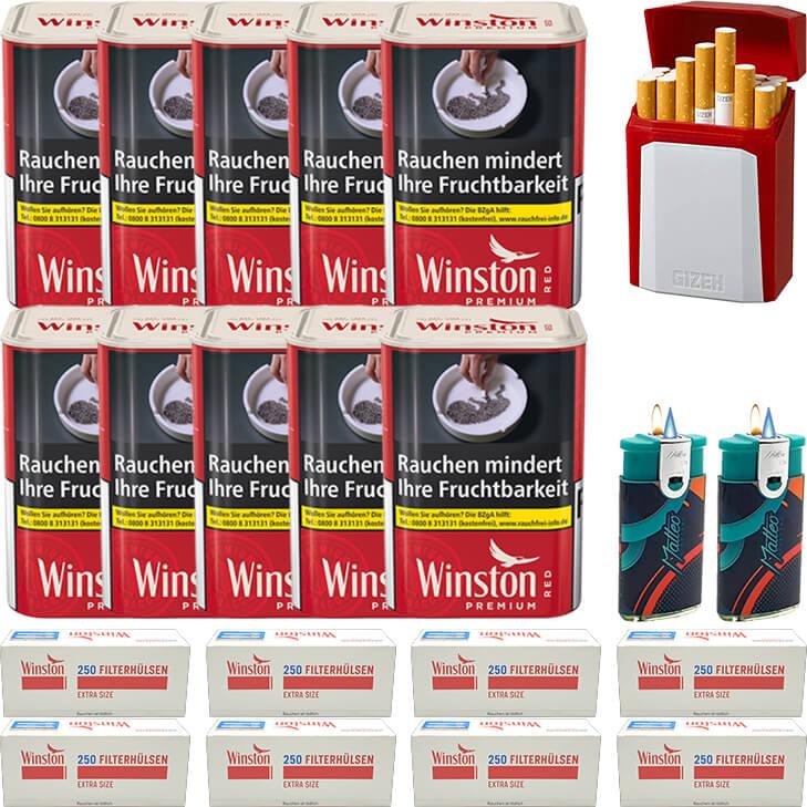Winston Premium Red 10 x 100g mit 2000 Special Size Hülsen