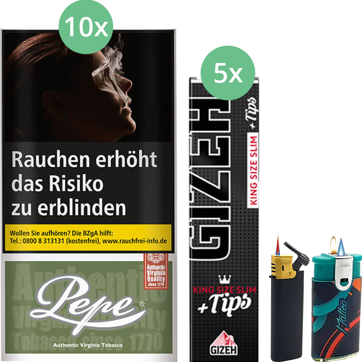 Pepe Rich Green 10 x 30g mit Gizeh Black Filter King Size Slim + Tips