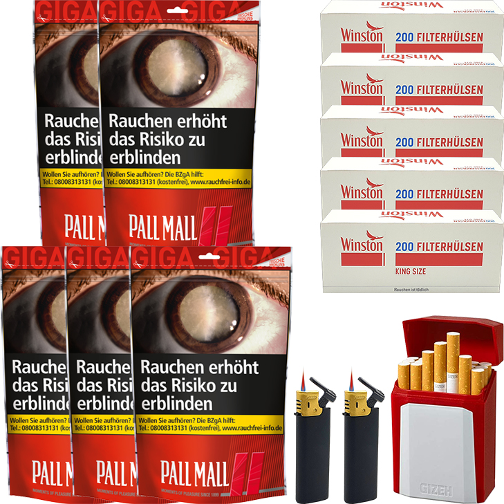 Pall Mall Red 5 x 125g mit 1000 King Size Hülsen