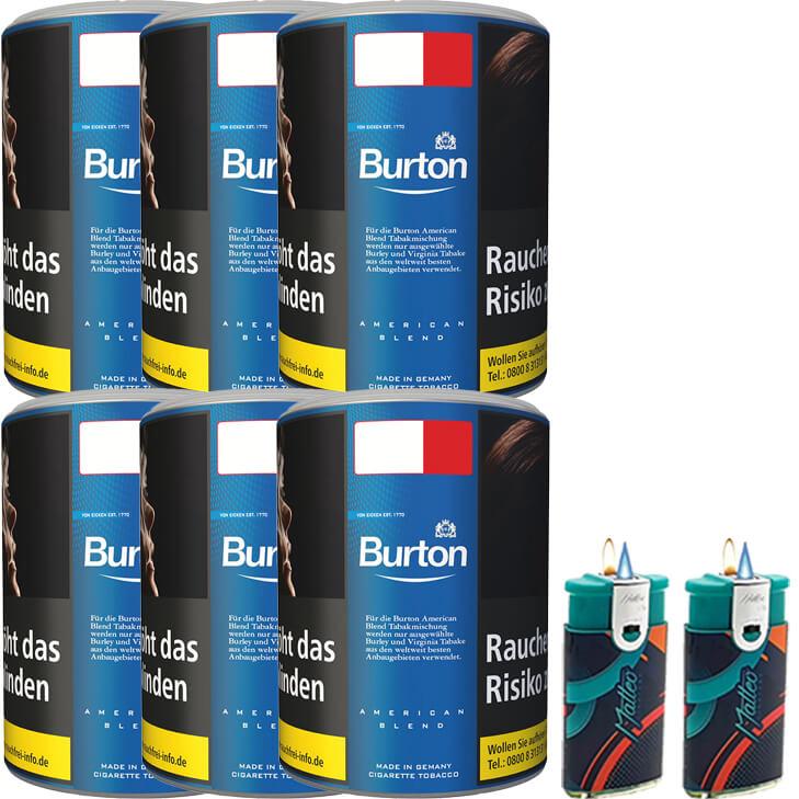 Burton Blue / Blau 6 x 120g mit Duo Feuerzeugen
