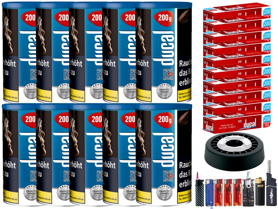 Ducal Blue / Blau 10 x 200g Feinschnitt / Zigarettentabak 2000 Filterhülsen Uvm.