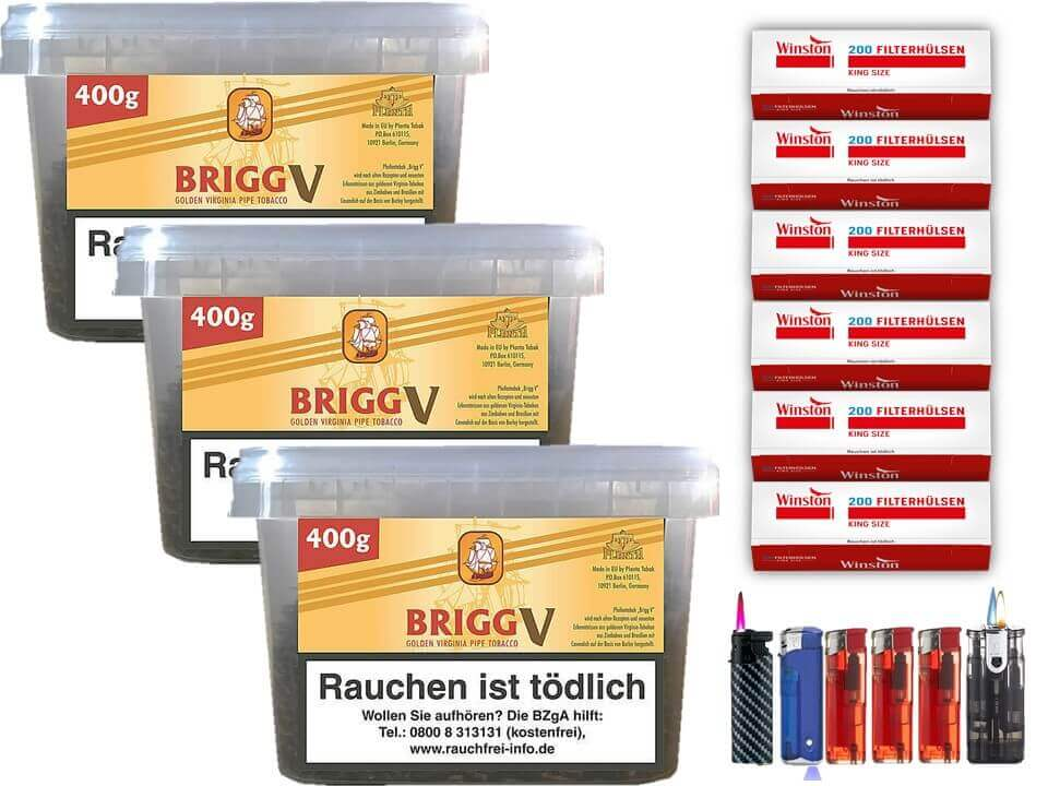 Brigg Vanilla 3 x 400g Pfeifentabak 1200 Filterhülsen Uvm.