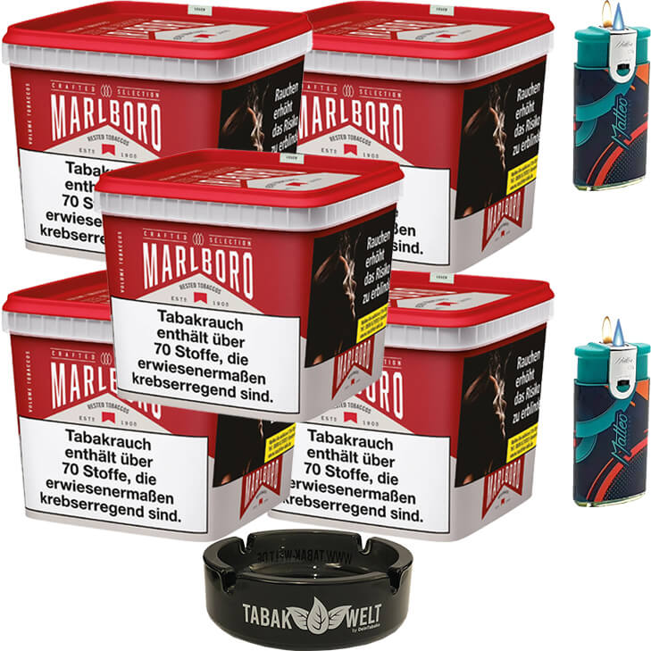 Marlboro Crafted Selection 5 x 270g mit Glasaschenbecher