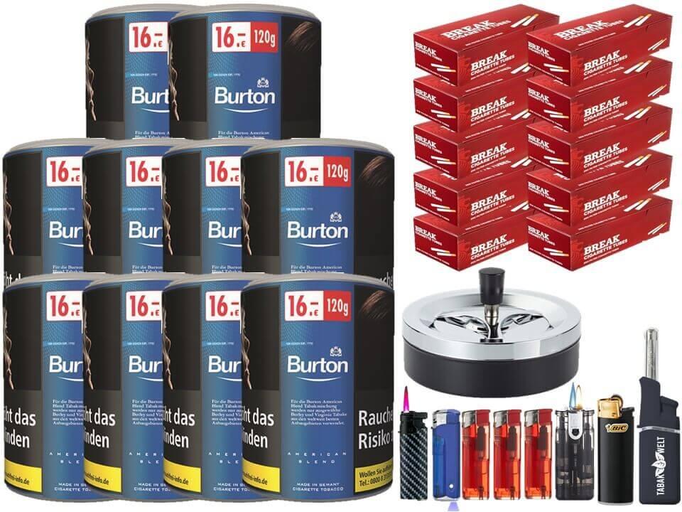 Burton Blue / Blau 10 x 120g Feinschnitt Tabak 2000 Filterhülsen Uvm.