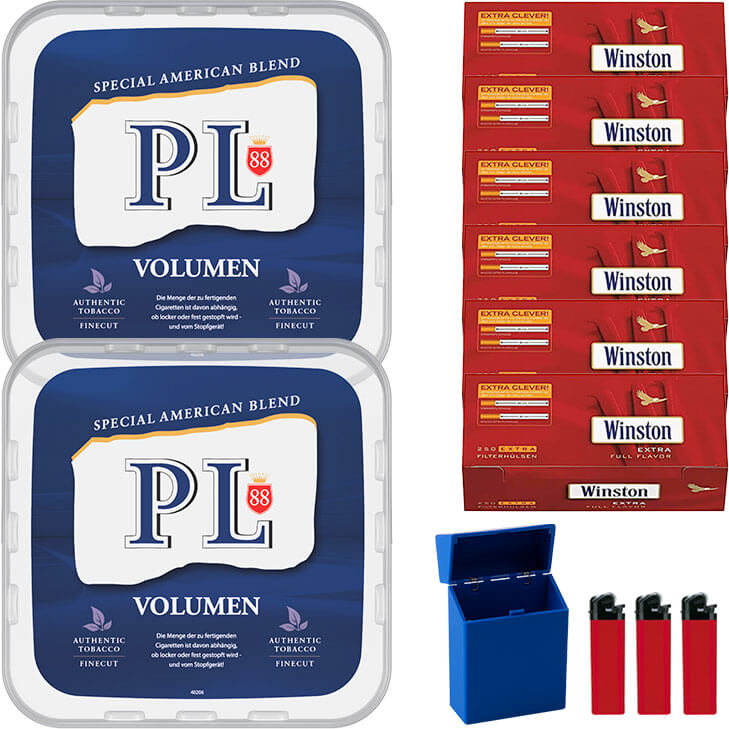 PL88 Blue / Blau 2 x 400g Volumentabak 1500 Extra Size Filterhülsen Uvm.