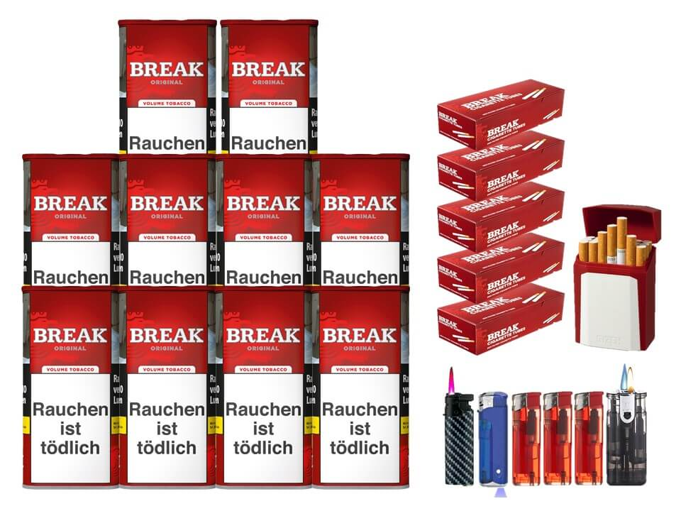 Break Original 10 x 120g Volumentabak 1000 Break Filterhülsen Uvm.