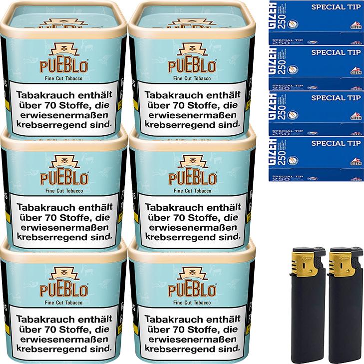Pueblo Blue 6 x 100g mit 1000 King Size Hülsen