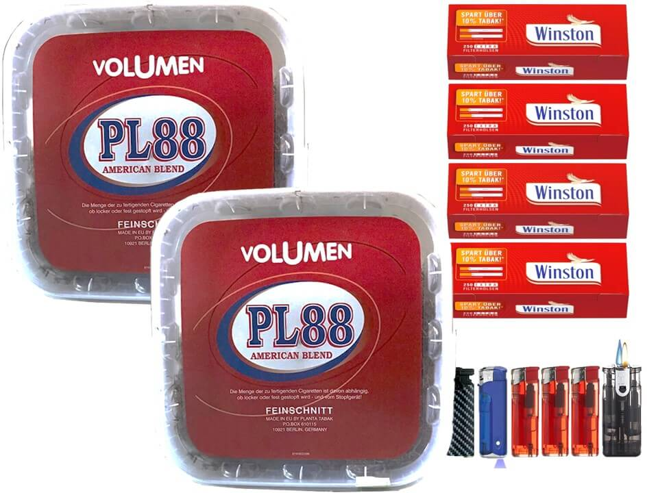PL88 Red 2 x 400g Volumentabak 1000 Extra Size Filterhülsen Uvm.