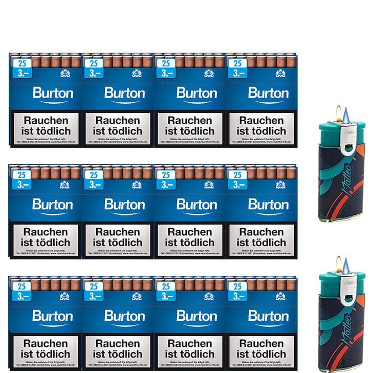 Burton Blue Zigarillos mit Filter (3 Stangen) 24 x 25 Stück