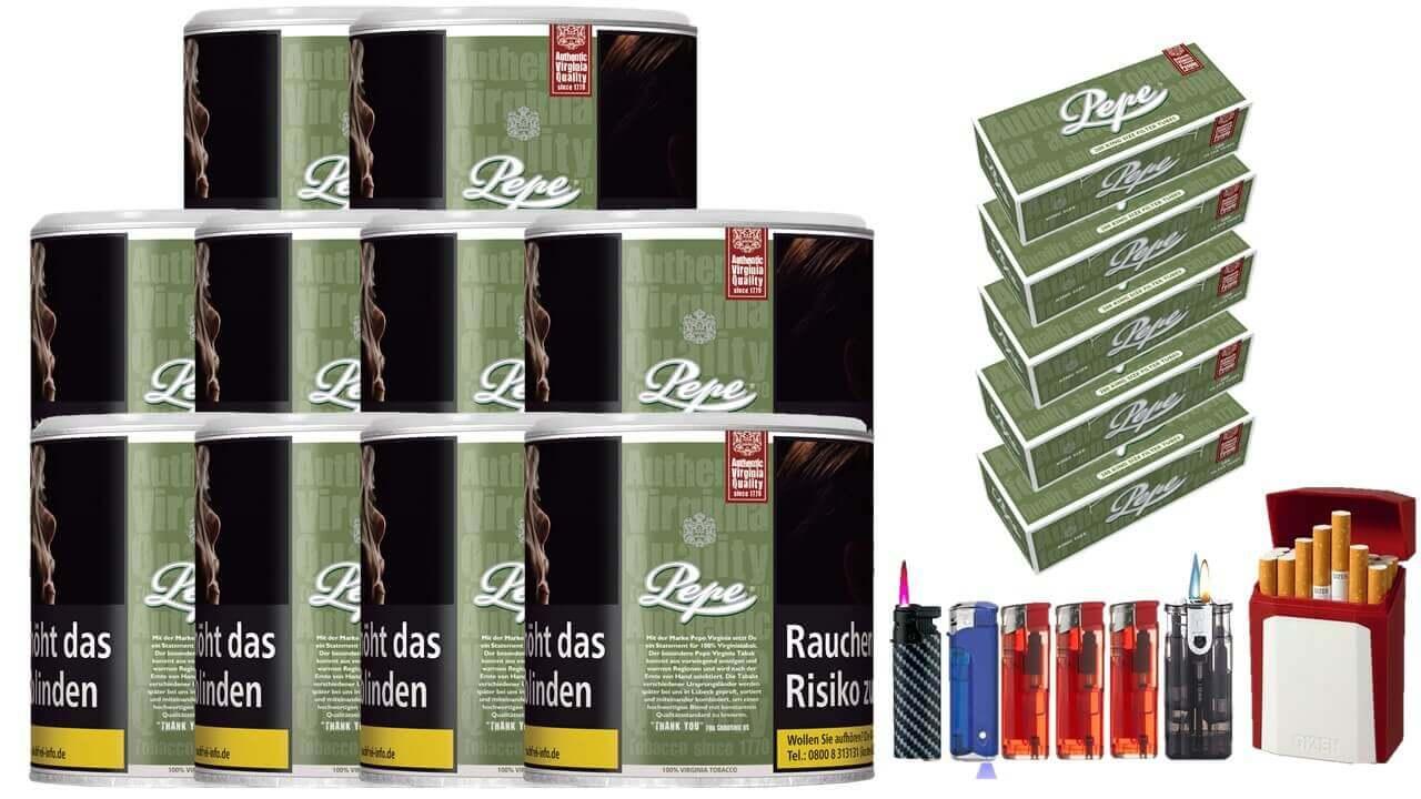 Pepe Rich Green 10 x 80g Feinschnitt / Zigarettentabak 1000 Pepe Filterhülsen Uvm.