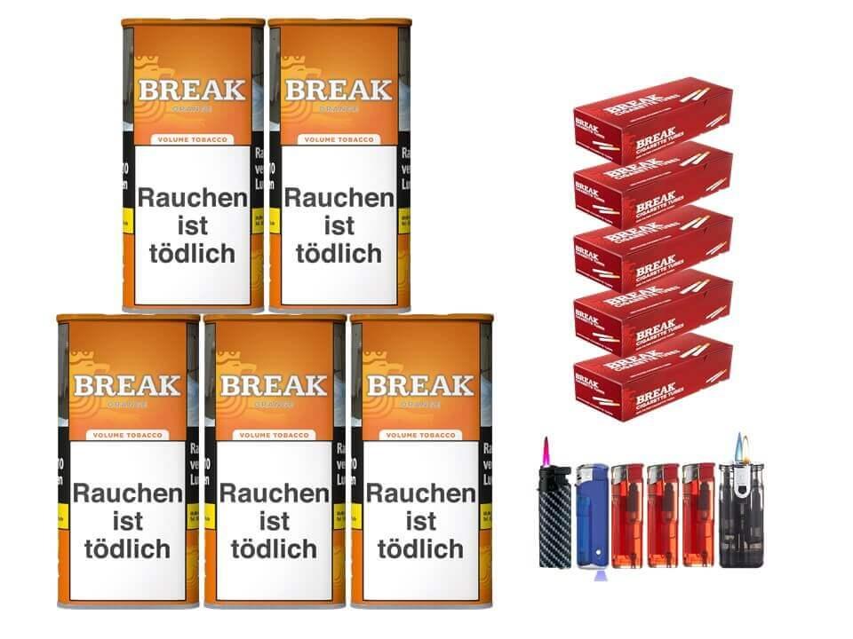 Break Orange 5 x 110g Volumentabak 1000 Break Filterhülsen Uvm.