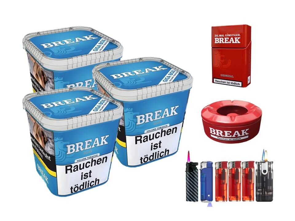 Break Blue / Blau 3 x 230g Volumentabak Feuerzeug Set Uvm.
