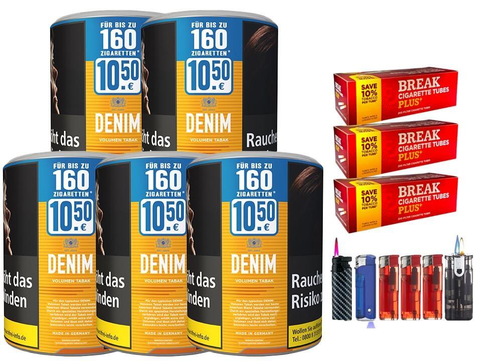 Denim XL 5 x 65g Volumentabak 600 Filterhülsen Uvm.