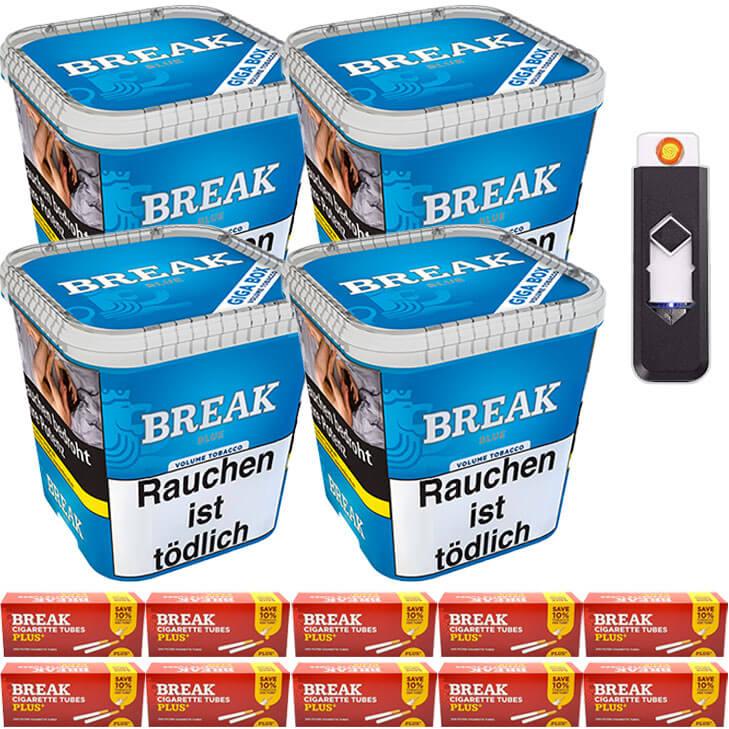 Break Blue / Blau 4 x 230g Volumentabak 2000 Special Size Filterhülsen USB-Feuerzeug