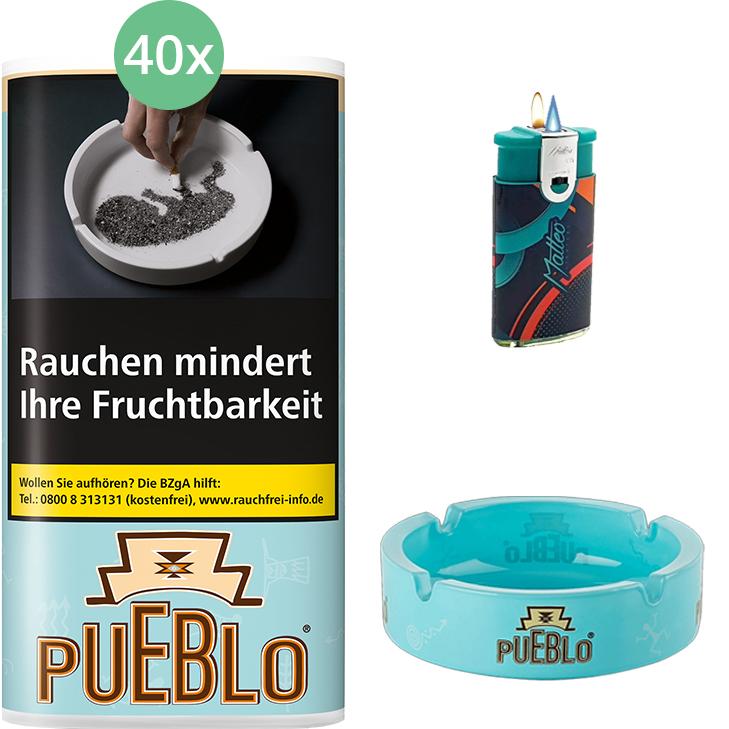 Pueblo Blue 40 x 30g mit Aschenbecher