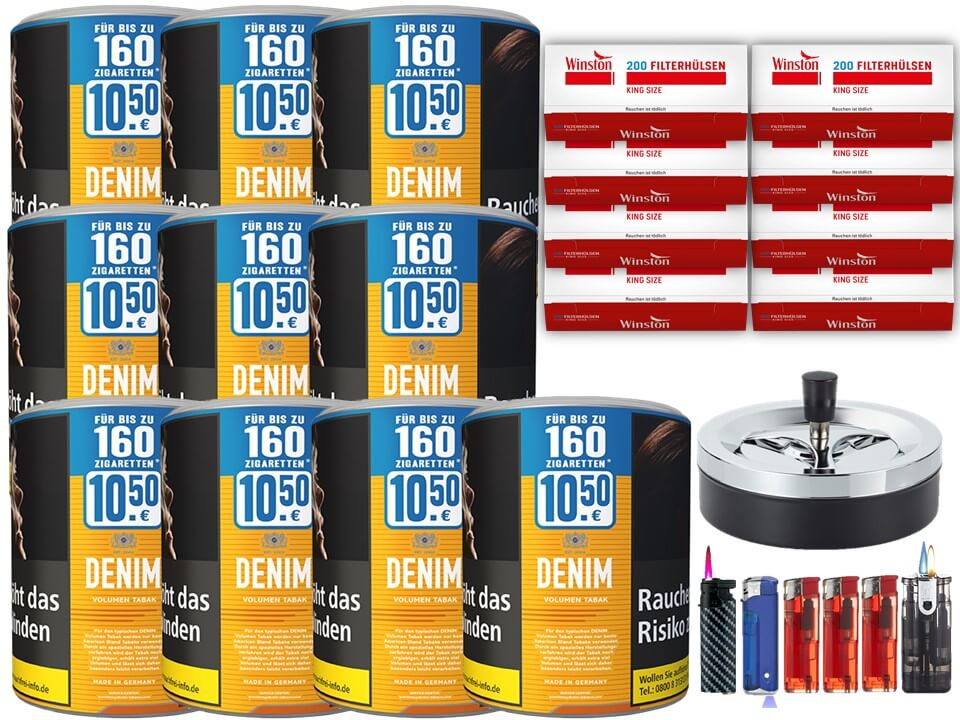 Denim XL 10 x 65g Volumentabak 1600 Filterhülsen Uvm.