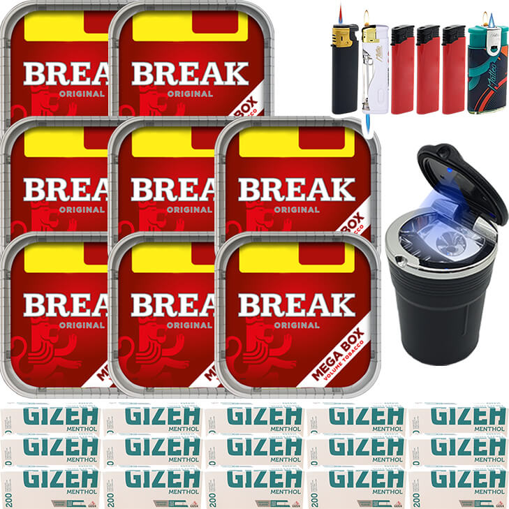 Break Original 8 x 170g mit 3000 Menthol Hülsen