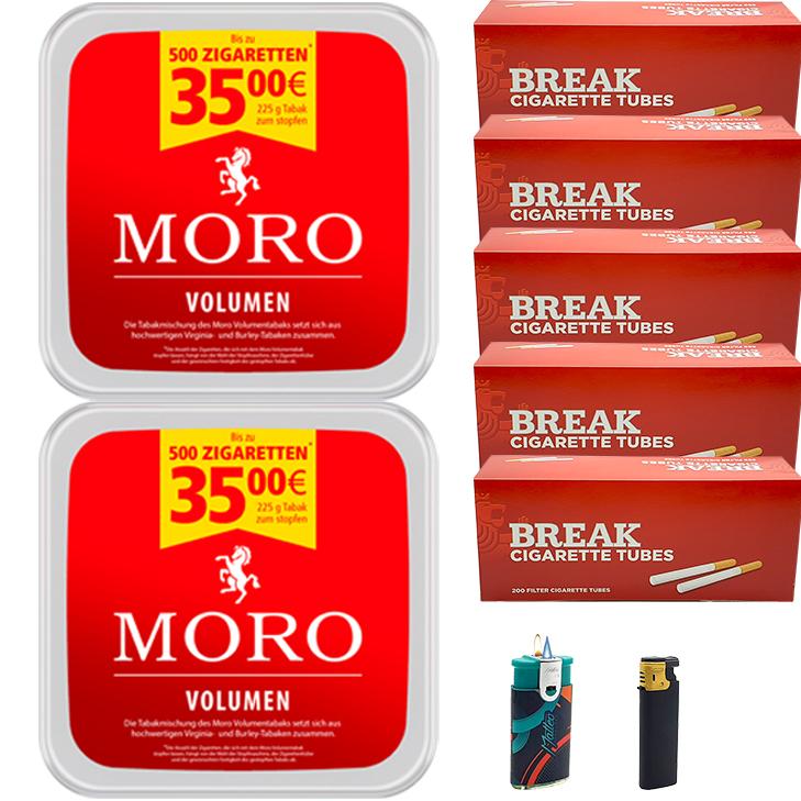 Moro Volumen 2 x 225g mit 1000 King Size Hülsen